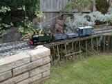 Image of a train on Roy Sterry's garden railway