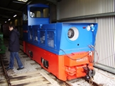 Image of a Hunslet diesel locomotive in the shed