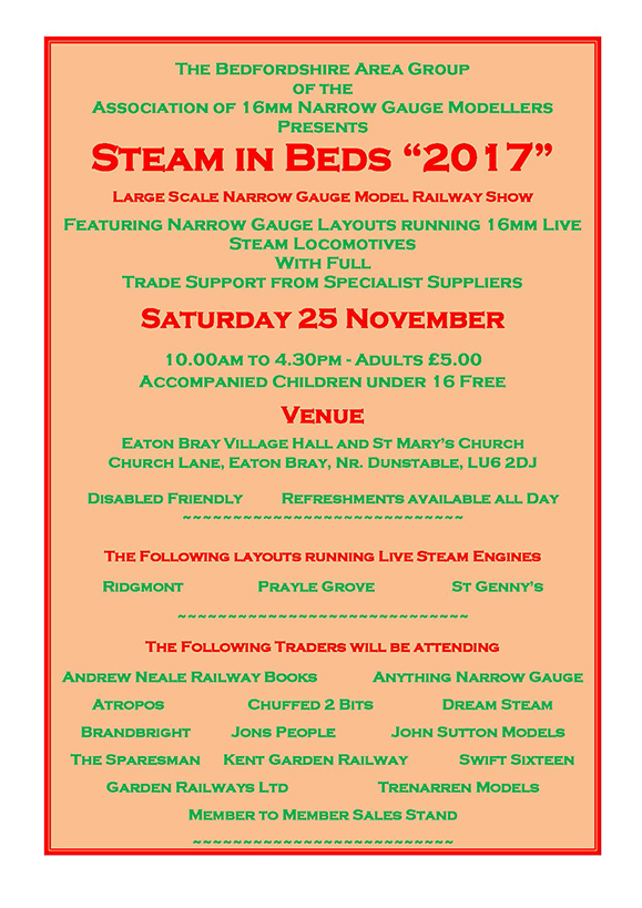 Steam in Beds 2017 Flyer