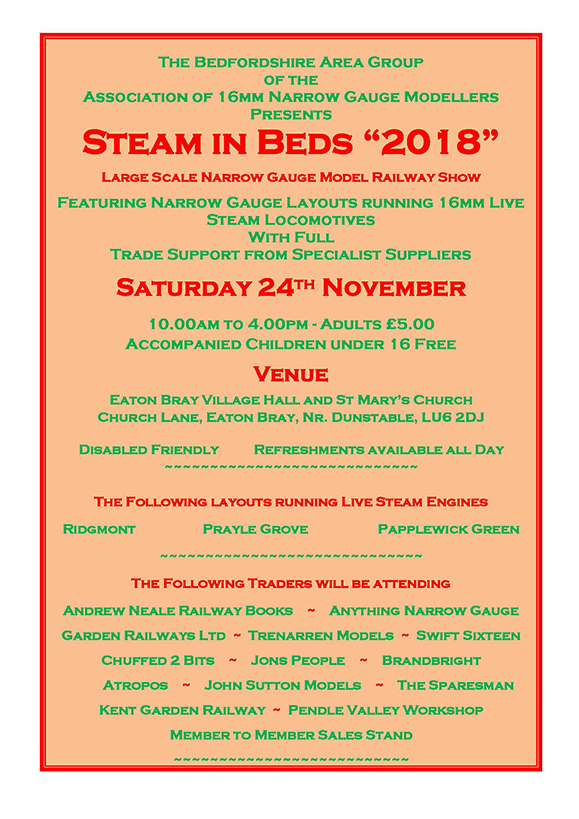 Steam in Beds 2018 Flyer