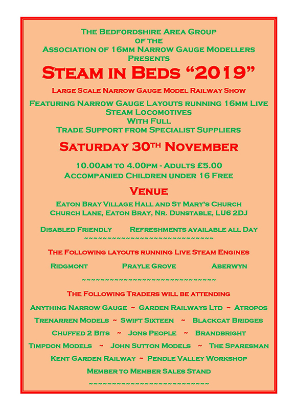 Steam in Beds 2019 Flyer